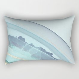 Pretty Blue and Teal Agate Illustration Rectangular Pillow