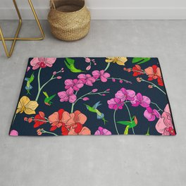 Colorful Flowers With Humming Birds Pattern Rug