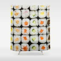 sushi Shower Curtains featuring Sushi by Katieb1013