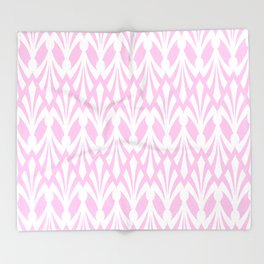 Decorative Plumes - White on Pastel Pink Throw Blanket