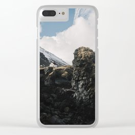 Cozy Mountain Cabin In Iceland - Landscape Photography Clear iPhone Case