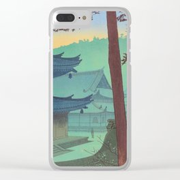 Asano Takeji Japanese Woodblock Print Vintage Mid Century Art Teal Turquoise Sunrise Shrine Clear iPhone Case