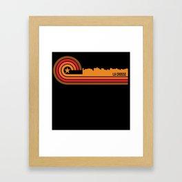 Retro Style La Crosse Wisconsin Skyline Framed Art Print
