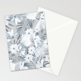 Black gray white magnolia tropical floral pattern Stationery Cards