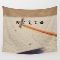 write Wall Tapestries featuring write by KimberosePhotography