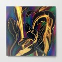 Blue Succulent Colorful Night, Black and Gold Rainbows by anoellejay