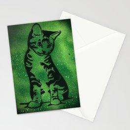 Green Kitten Stationery Cards
