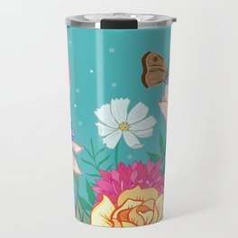 Magnolia Blossom and Bright Garden Flowers on Teal Travel Mug