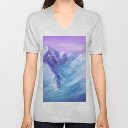 Mountain Painting for Fathers Day Unisex V-Neck