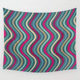Modern Stripes Pattern of Jewel Tones Wavy Lines in Red Teal Turquoise Gold Wall Tapestry