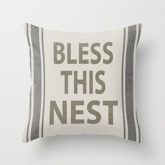 Bless This Nest Throw Pillow By Paint Me Pink