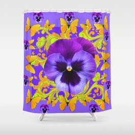 PURPLE PANSIES YELLOW BUTTERFLIES ABSTRACT FLORAL Shower Curtain