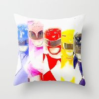 power rangers Throw Pillows featuring Power Rangers by americanmikey