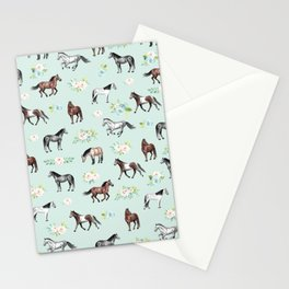 Floral Horse Pattern, Flowers and Horses, Hand Painted, Girl's Room, Romantic Blue Floral Stationery Cards