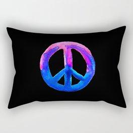 Pink Blue Watercolor Tie Dye Peace Sign Rectangular Pillow