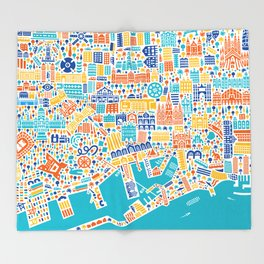 Vianina Barcelona City Map Poster Throw Blanket