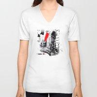 poland V-neck T-shirts featuring Warsaw Uprising, Poland - 1944 by viva la revolucion