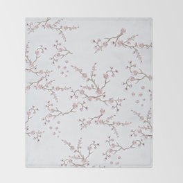 SAKURA LOVE - GRUNGE WHITE Throw Blanket