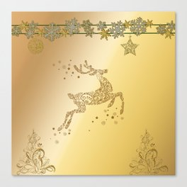 Christmas, beautiful golden reindeer with snowflakes Canvas Print