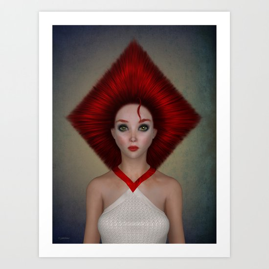 Queen of diamonds portrait Art Print