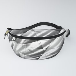 Monochrome pattern of chaotic black and white geometric shapes with reflections of light rays. Fanny Pack