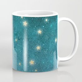 Turquoise Night Sky With Gold Stars Pattern Coffee Mug