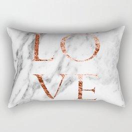 Rose gold marble LOVE Rectangular Pillow