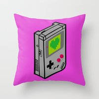 gameboy Throw Pillows featuring Gameboy Love by Artistic Dyslexia