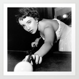 Elizabeth Taylor Shooting Pool Art Print