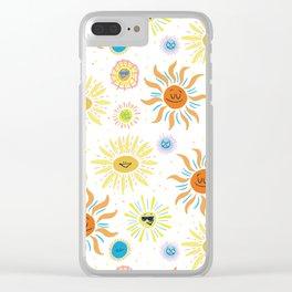 mid century retro sun solar 60's pattern Clear iPhone Case