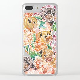 Because Pugs Watercolor Clear iPhone Case