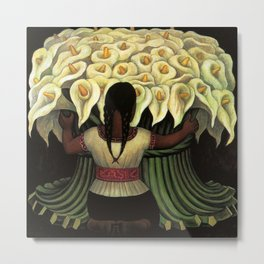 1941 Classical Masterpiece Calla lily 'Flower Seller' by Diego Rivera Metal Print