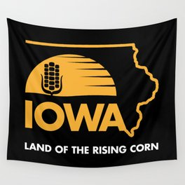 Iowa: Land of the Rising Corn - Black and Gold Edition Wall Tapestry