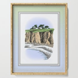 BEACH BLUFF FARM COLORED CHARCOAL DRAWING Serving Tray