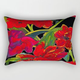 Inky Tulips Black Rectangular Pillow