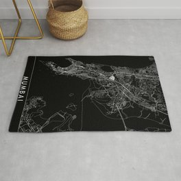 Mumbai Black Map Rug