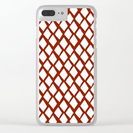 Rhombus White And Red Clear iPhone Case