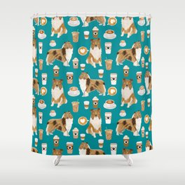 Rough Collie coffee pet portrait dog art by pet friendly latte coffee dog lover gifts Shower Curtain