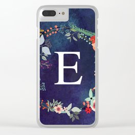 Personalized Monogram Initial Letter E Floral Wreath Artwork Clear iPhone Case