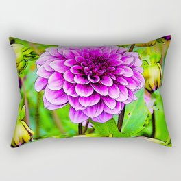 LILAC PURPLE DAHLIA FLOWERS & BUDS Rectangular Pillow