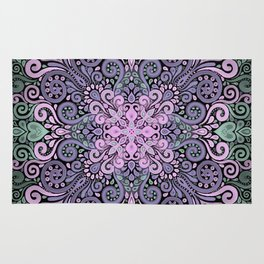 Watercolor Ornate Pattern in Purple, Pink and Green Rug