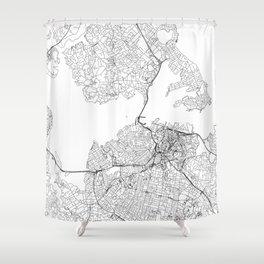 Auckland White Map Shower Curtain