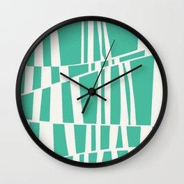 Irregular stripes - jade green & white Wall Clock