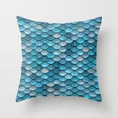 Luxury turquoise mermaid sparkling glitter scales- Mermaidscales Throw Pillow