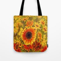 sunflowers Tote Bags featuring SUNFLOWERS by Vargamari
