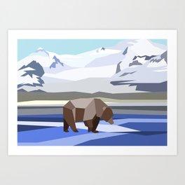 Geometric Grizzly Bear Art Print