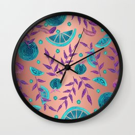 Neon Orange - Rose  Wall Clock