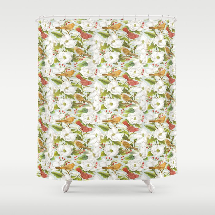 Magnolia Birds Shower Curtain