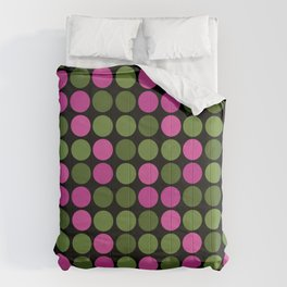 Pink and olive polka dots on black bubbles circles retro vintage Comforters