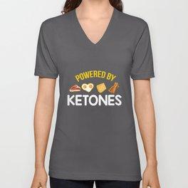 Funny Keto Diet Gift   Powered By Ketones Unisex V-Neck
